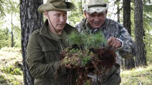 Президент России Владимир Путин и министр обороны Сергей Шойгу в Туве