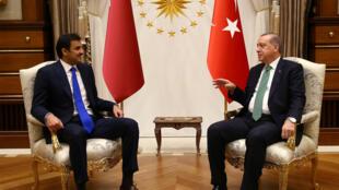 Rencontre entre le président Recep Tayyip Erdogan et l'émir Tamim ben Hamad al-Thani à Ankara, en Turquie, le 14 septembre 2014.