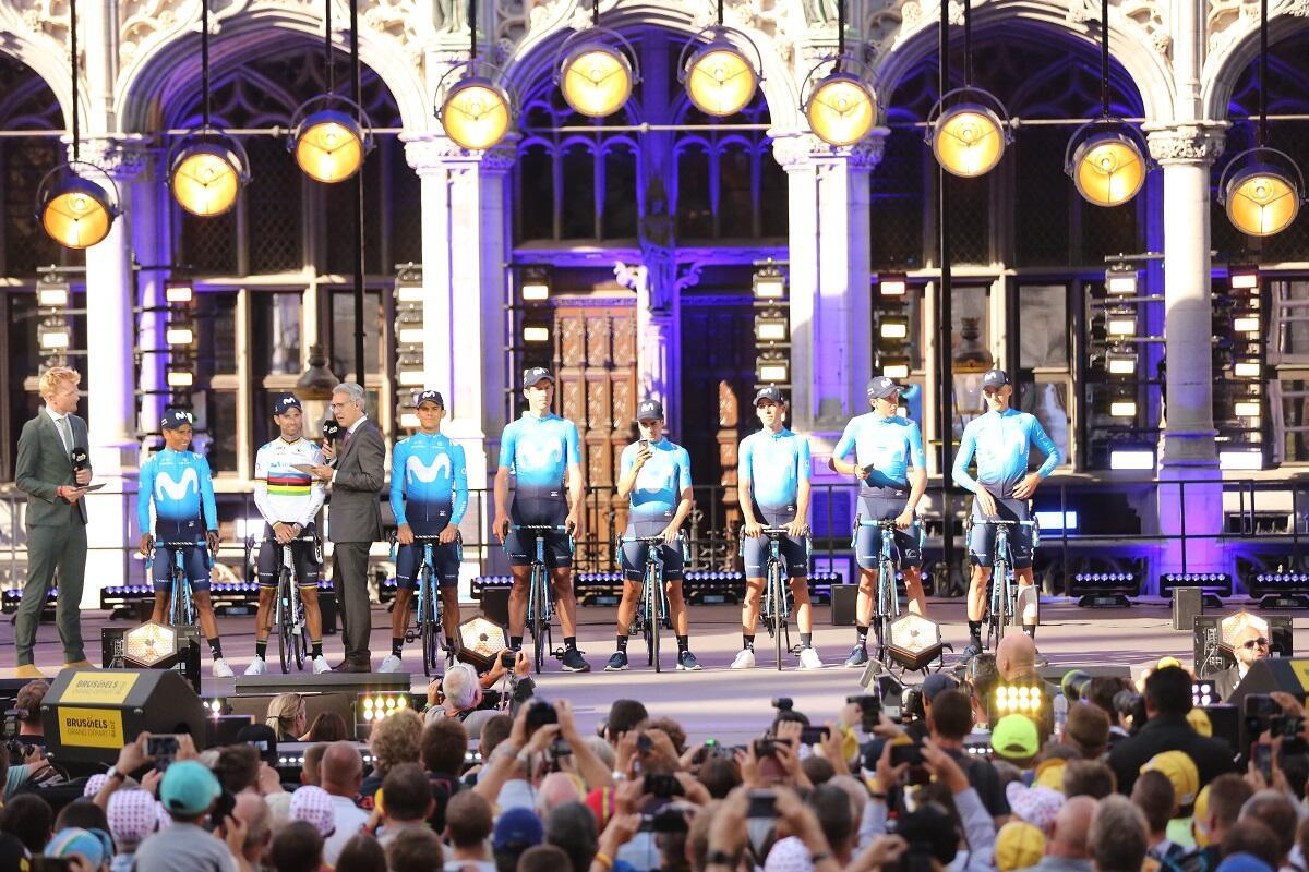 Team Movistar receive a rock star welcome from crowds at the Grand Place in Brussels on 4 July, 2019.