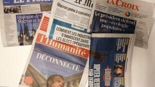 Primeiras páginas dos jornais franceses de 28 de novembro de 2018