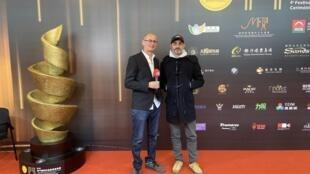 """Bernardo Rao e António Faria, realizadores do filme """"Ina e a sauna do tigre azul"""" em Macau a 6 de Dezembro de 2019."""