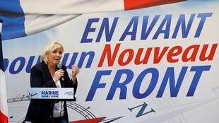 National Front leader Marine Le Pen addresses a rally last month