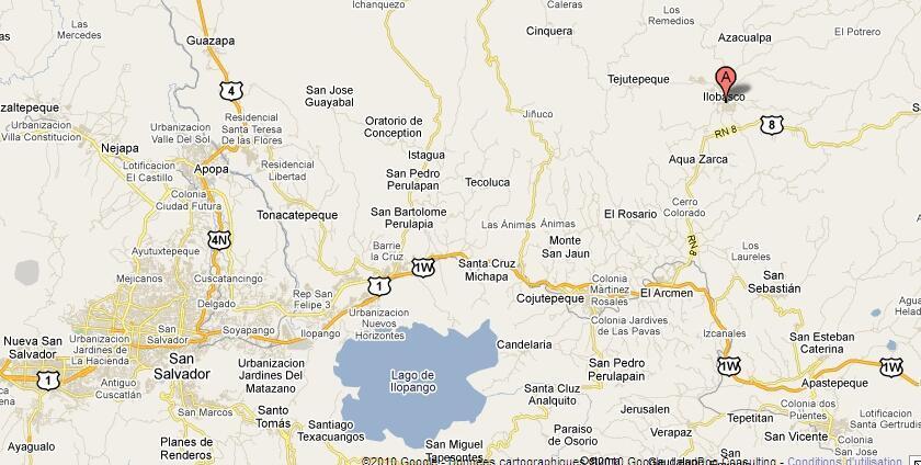 Mapa de El Salvador, en la izquierda y arriba, marcado con una A, localizada la ciudad de Ilobasco donde se produjo el incendio.