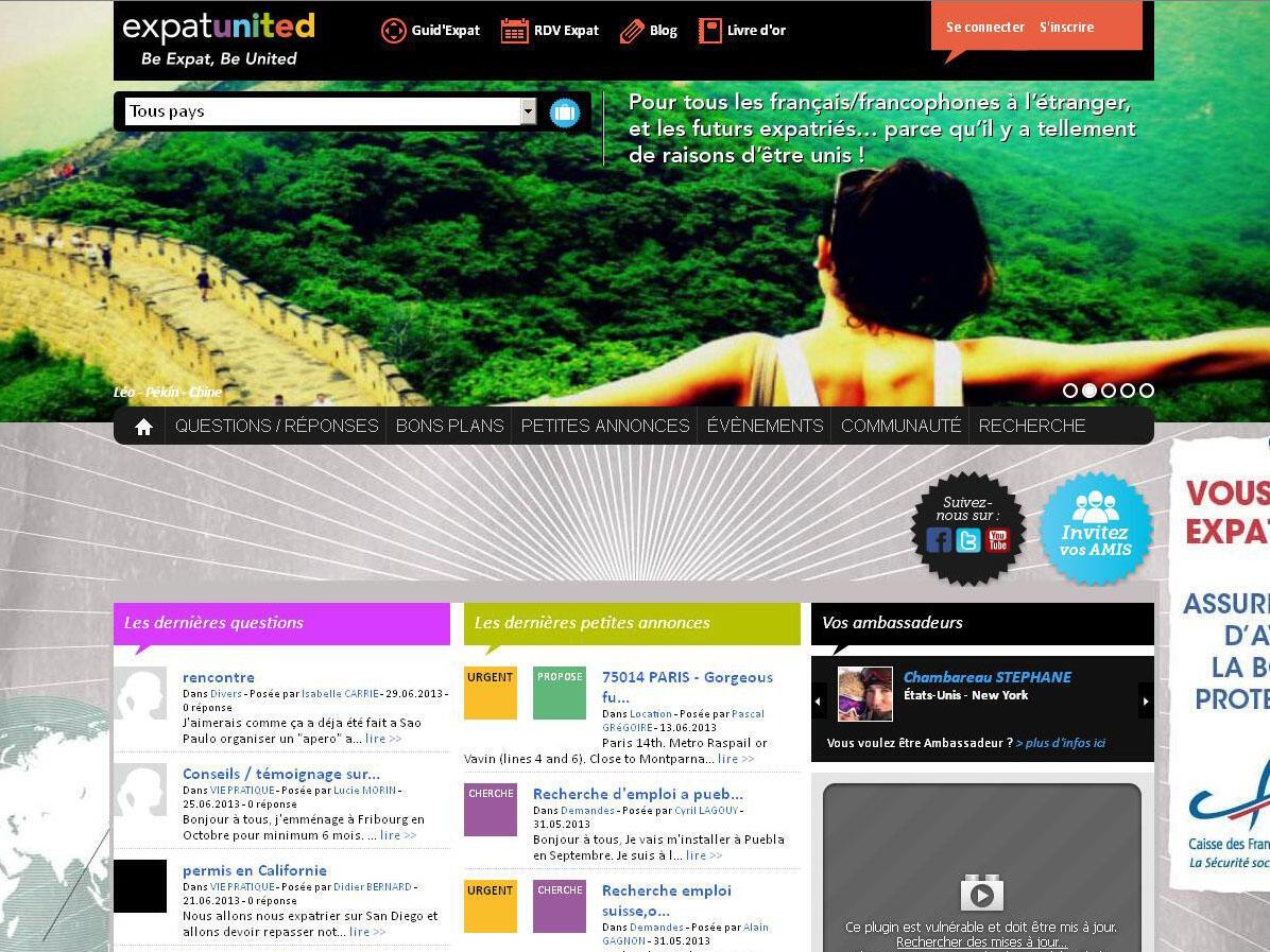 Capture d'écran du site ExpatUnited.