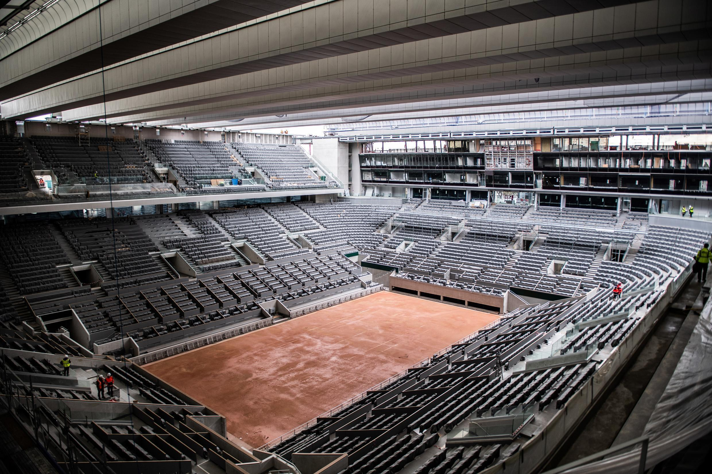 The Philippe Chatrier court at Roland Garros, complete with a new retractable roof, would host the finals of the French Open