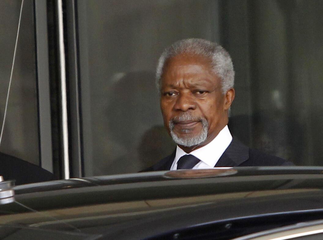 O enviado especial da ONU, Kofi Annan, em sua chegada a Damasco, neste sábado, 10 de março.