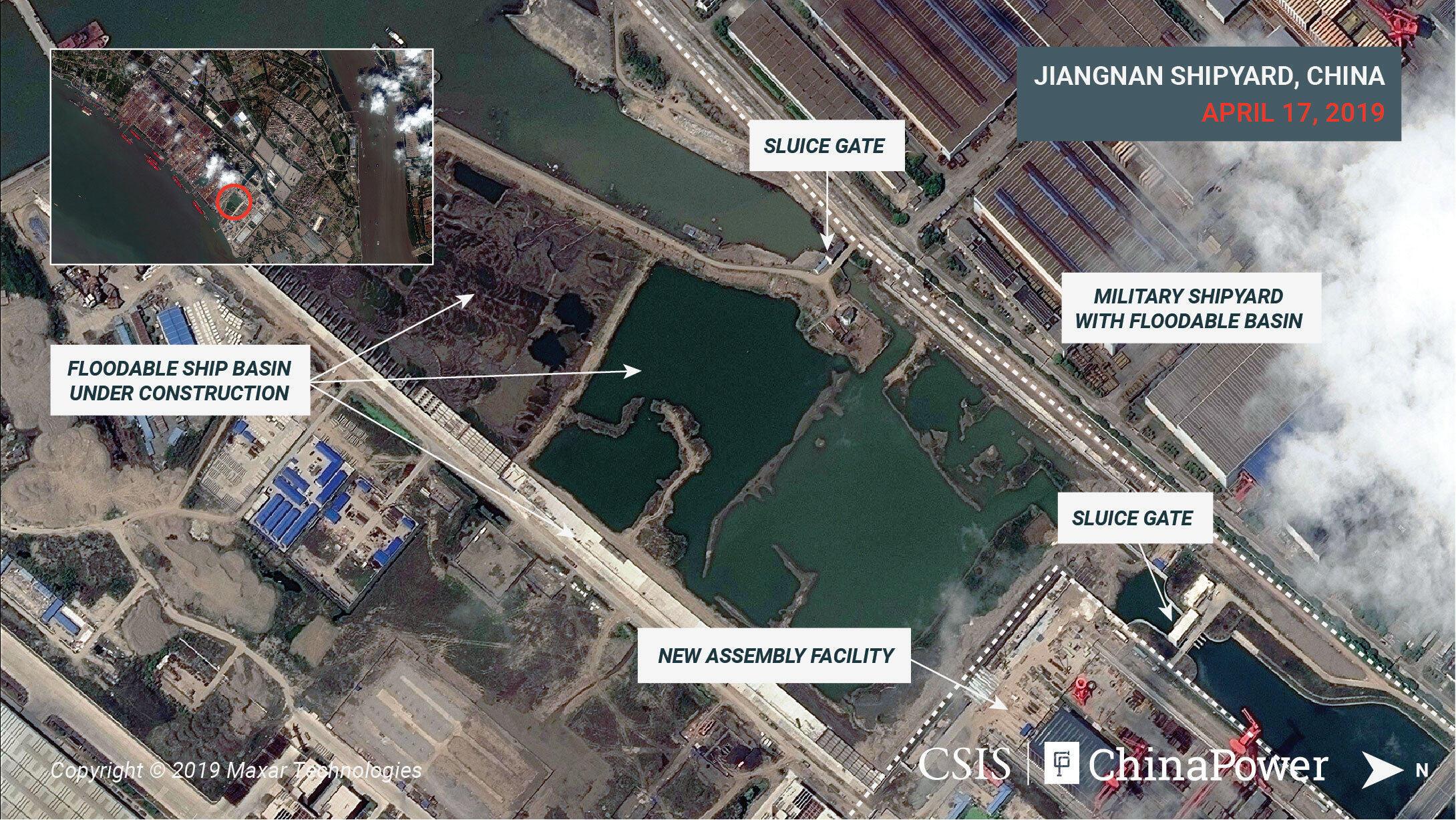 Ảnh vệ tinh cho thấy tàu sân bay thứ ba của Trung Quốc có thể đang được đóng tại công xưởng Giang Nam, Thượng Hải, 17/04/2019.