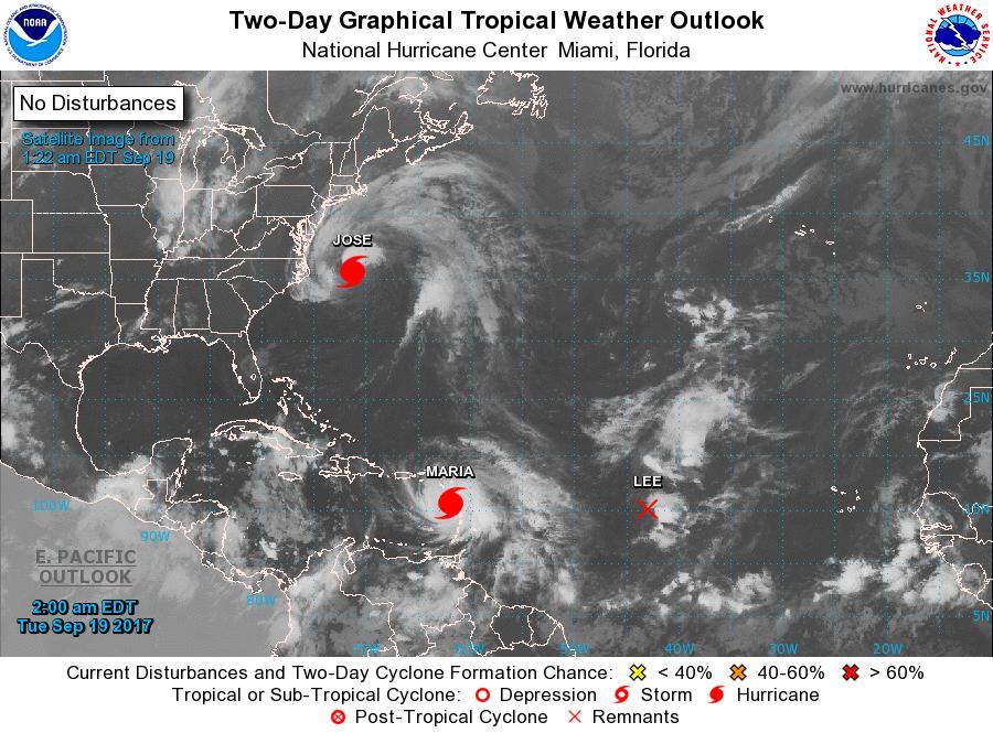 Carte de l'arc Caraïbe sur le site du National Hurricane Center américain, 19 septembre 2017.
