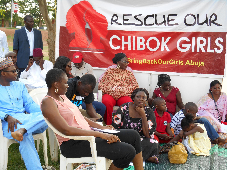 Wasu daga cikin 'Iyayen Matan da aka sace 'yayansu a Chibok Jihar Borno a Najeriya.
