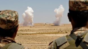 Manoeuvres militaires dans le cadre de l'opération Eager Lion, en juin 2013.