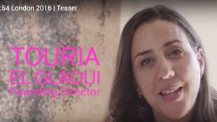 Touria El Glaoui, fondatrice de la Foire d'art contemporain africain «1:54» (capture d'écran).