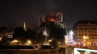 Notre-Dame de Paris ravagée par les flammes, le 15 avril 2019.