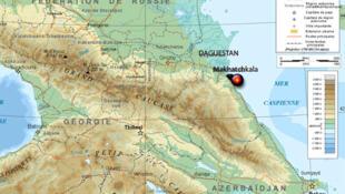 Carte du Daguestan dans le Caucase.