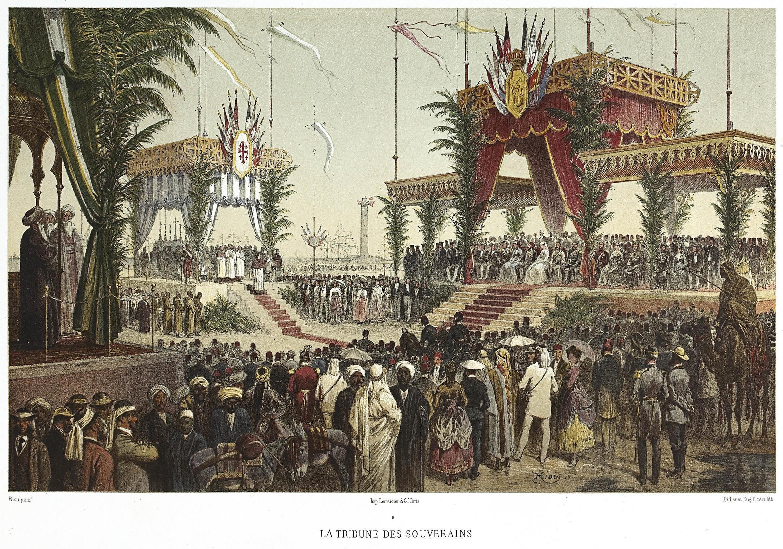 Inauguración del canal de Suez el 17 de noviembre de 1869. Tribuna de los soberanos.