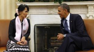 Tổng thống Mỹ Barack Obama tiếp nhà đối lập Miến Điện Auing San Suu Kyi tại Nhà Trắng ngày 19/9/2012