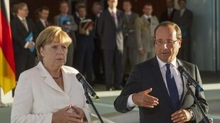 Angela Merkel e François Hollande fizeram declarações à imprensa antes de seu jantar de trabalho nesta quinta-feira em Berlim.
