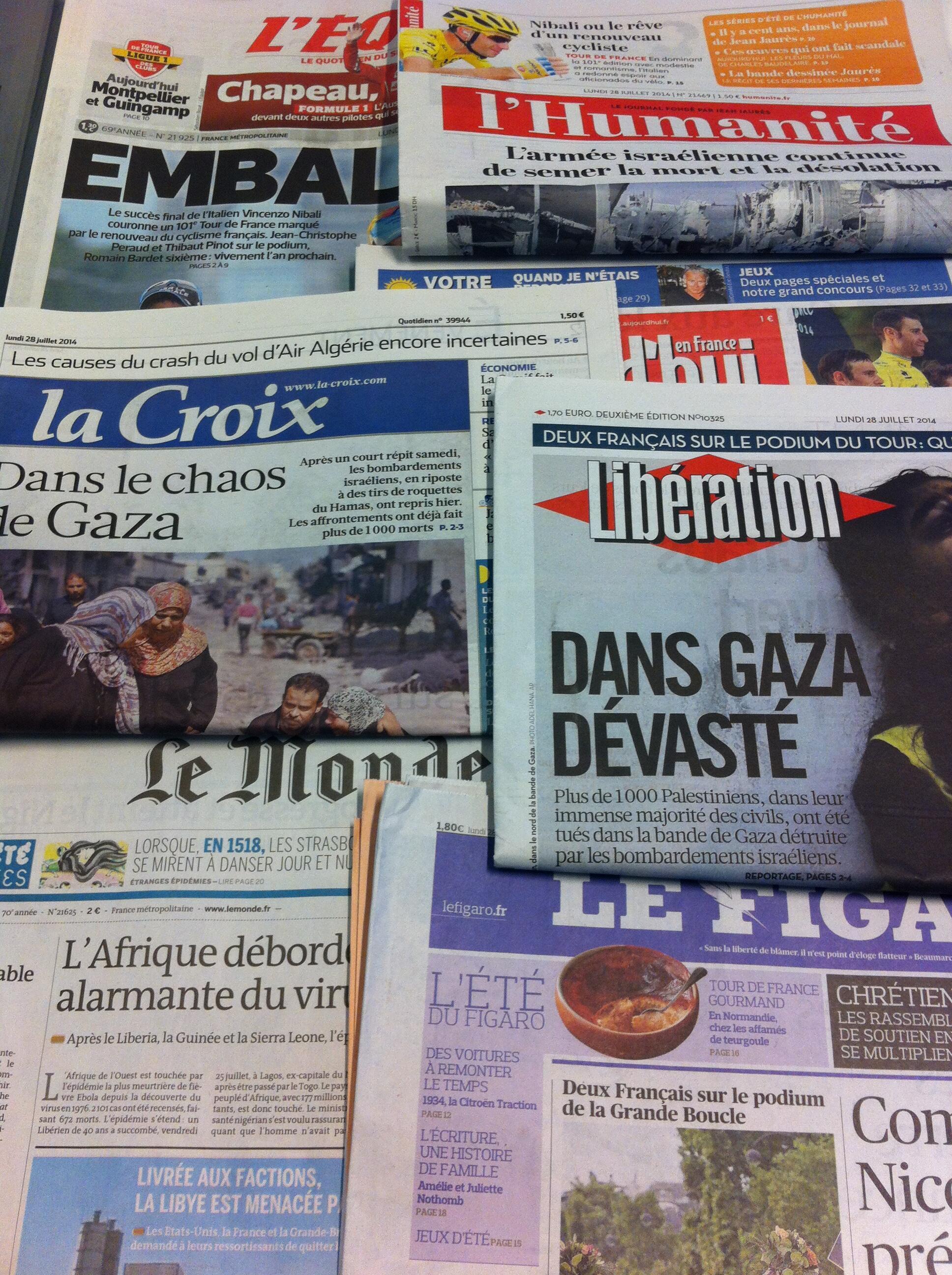 Primeiras páginas dos diários franceses de 28/7/2014