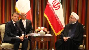 Les présidents français et iranien, Emmanuel Macron et Hassan Rohani, le 18 septembre 2017 à New York en marge de l'Assemblée générale de l'ONU.