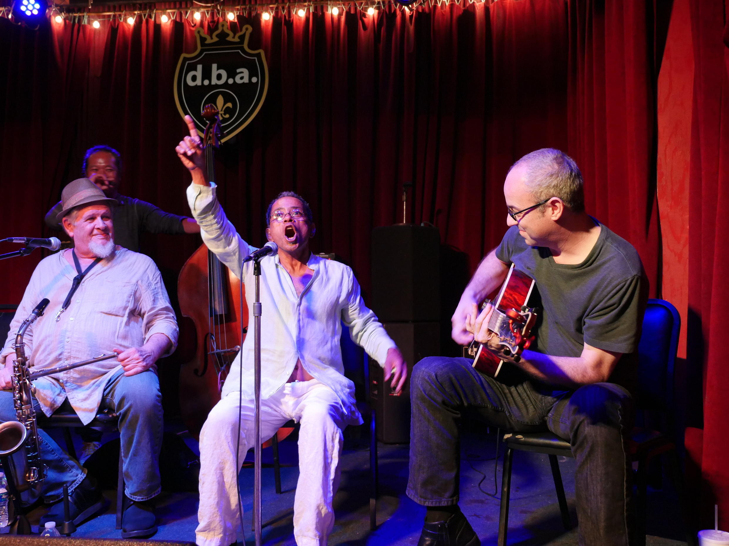 """Jazz vocalist John Boutté and band performing at DBA, Frenchmen Street. The local legend appeared in David Simon's HBO series """"Tremé"""" and wrote the show's opening theme, """"The Tremé Song""""."""