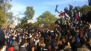 School students protest at Paris's Place de la Nation on Thursday
