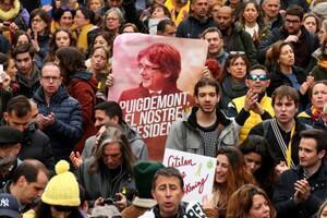 Protestas tras el arresto de Carles Puigdemont en Alemania. Barcelona, 25 de marzo de 2018.