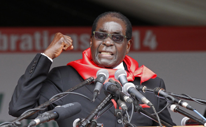 File photo of Zimbabwe President Robert Mugabe at his 90th birthday celebration in February 2014.
