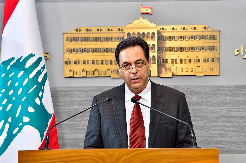 Primeiro-ministro libanês, Hassan Diab, aqui a 30 de Abril de 2020.