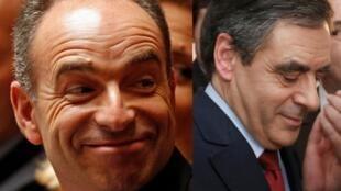 Jean-François Copé(à esq.) e François Fillon disputaram a presidência da UMP no domingo, mas a eleição com os afiliados do partido foi marcada por suspeitas de fraudes com cédulas falsas.