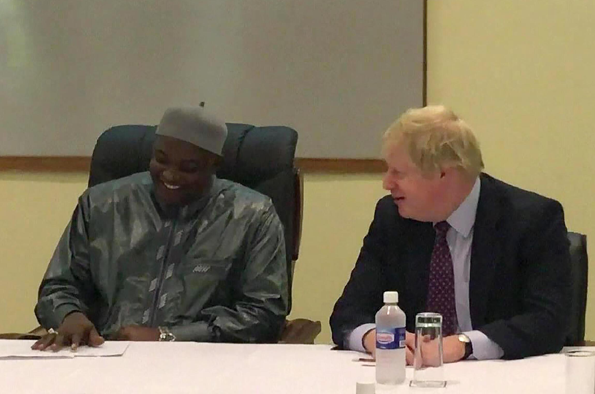 Footage of British Foreign Secretary Boris Johnson meeting Gambian President Adama Barrow in Banjul on 14 February 2017.