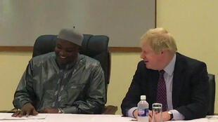 Footage of British Foreign Secretary Boris Johnson meeting Gambian President Adama Barrow in Banjul on 14 February 2017.