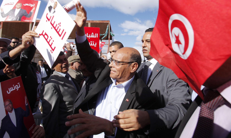 Le président sortant Moncef Marzouki lors de son meeting de campagne à Sidi Bouzid, le 17 décembre 2014 en Tunisie.