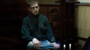 Grégoire Moutaux during a court hearing in the Ukrainian town of Liuboml on 21 May 2018