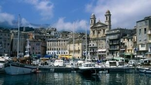 View of the city of Bastia on the French island of Corsica.