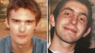 Montage photo des deux Français Antoine de Leocour (G) et Vincent Delory (D) tués au Niger le 8 janvier 2011.