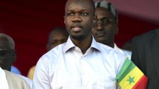 Le candidat de l'opposition Ousmane Sonko lors d'un meeting le 19 janvier 2019 à Dakar.