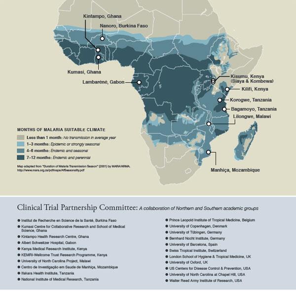 Centres de tests cliniques en Afrique pour le RTS, S du labotoire GSK en 2011.