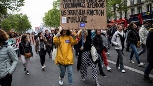 Hundreds of protesters hit the streets to push-back against a proposed bill, Paris May 9, 2019