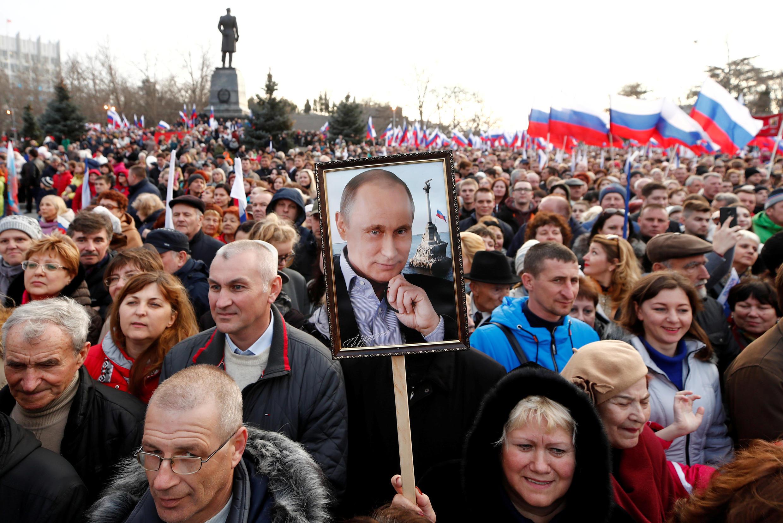 Rassemblement pour le 4e anniversaire de l'annexion de la Crimée, à Sébastopol le 14 mars 2018.