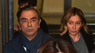 Carlos and Carole Ghosn in Tokyo, 8 March 2019.