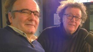 José Manuel López López y Dionisio Cañas en los estudios de RFI