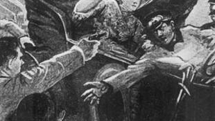 Ilustración del asesinato del archiduque y su esposa, autor desconocido, 1914.