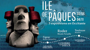 Afiche de las tres exposiciones consagradas a la Isla de Pascua.
