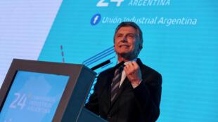 El presidente Mauricio Macri en la Conferencia Anual de la Unión Industrial Argentina, este 4 de septiembre de 2018.