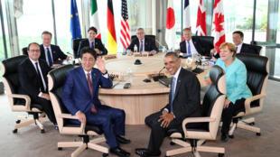 Les participants du G7 au Japon, dont au premier plan le premier ministre japonais Shinzo Abe et le président des Etats-Unis Barack Obama.