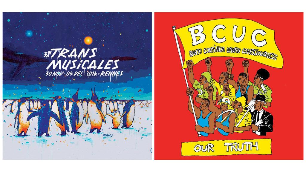 Affiche Transmusicales de Rennes et pochette BCUC.