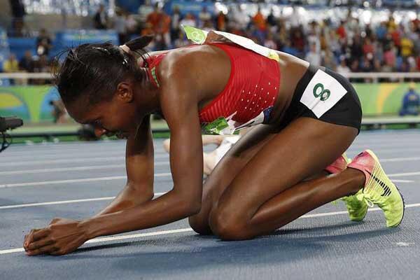 Mwanariadha Faith Kipyego aliposhinda mbio za Mita 1500 wakati wa Michezo ya Olimpiki 2016 nchini Brazil
