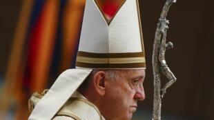 Le pape François lors de la Liturgie de la Parole pour la Journée mondiale de prière pour la Sauvegarde de la Création, dans la Basilique Saint-Pierre, au Vatican, le 1er septembre 2015.