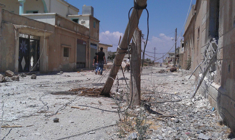 Một khu phố đổ nát ở Deraa, ngày 11/08/2012.