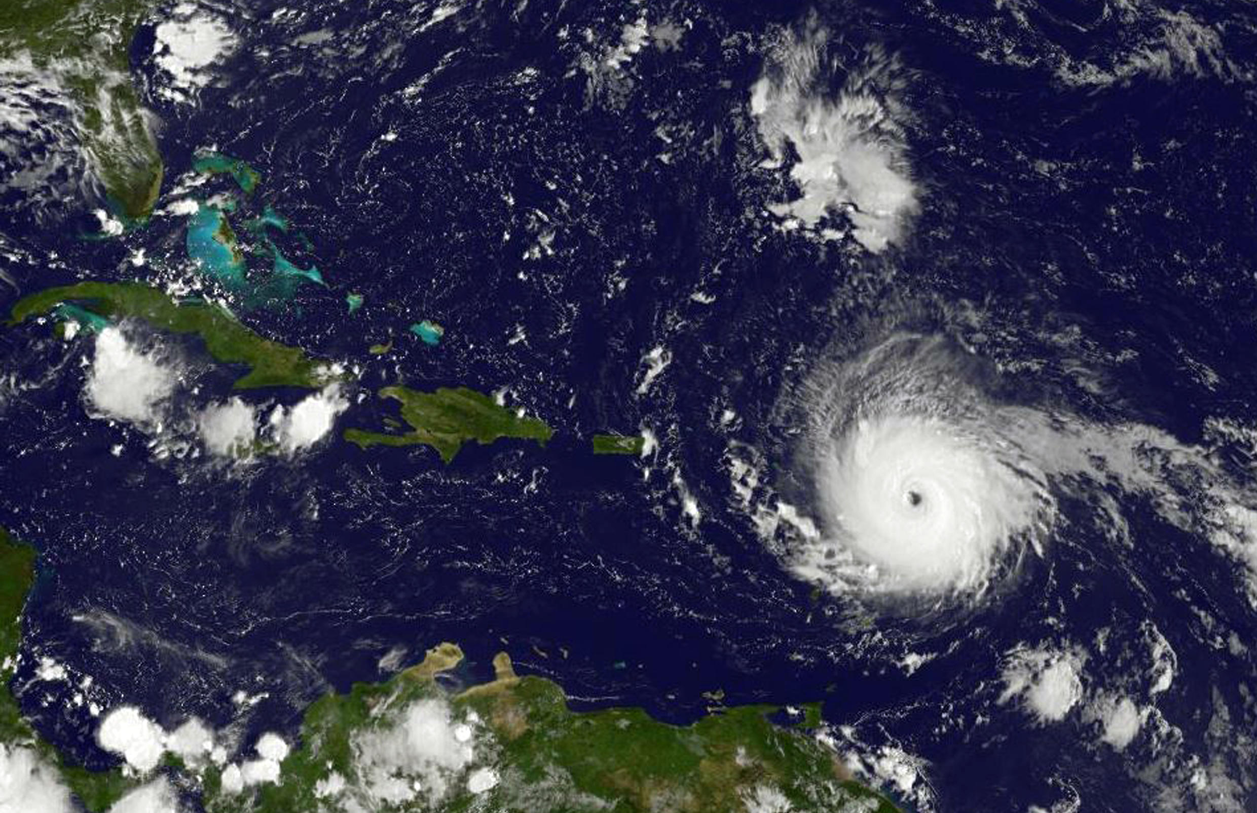 This image obtained from NASA's GOES Project shows Hurricane Irma on September 5, 2017,