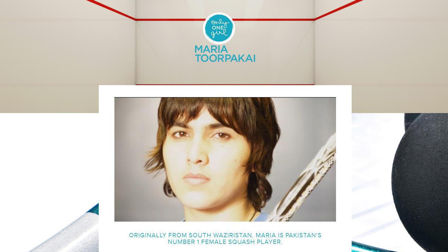 Page d'accueil du site internet de Maria Toorpakai.